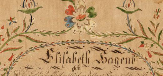 Elizabeth Hagenbuch Taufschein Fraktur