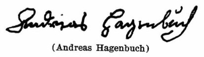 Andreas Hagenbuch's signature from the Pennsylvania Archives, 1737.