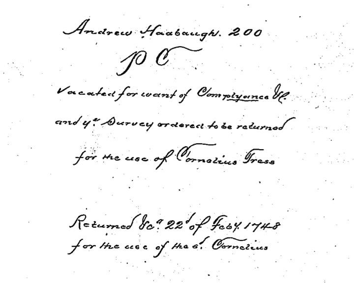 Andreas Hagenbuch 1738 Survey Return