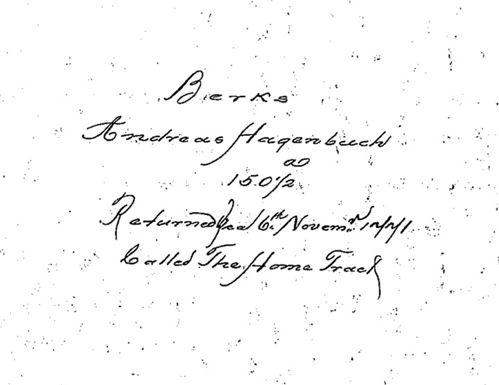 Andreas Hagenbuch 1741 Survey Returned