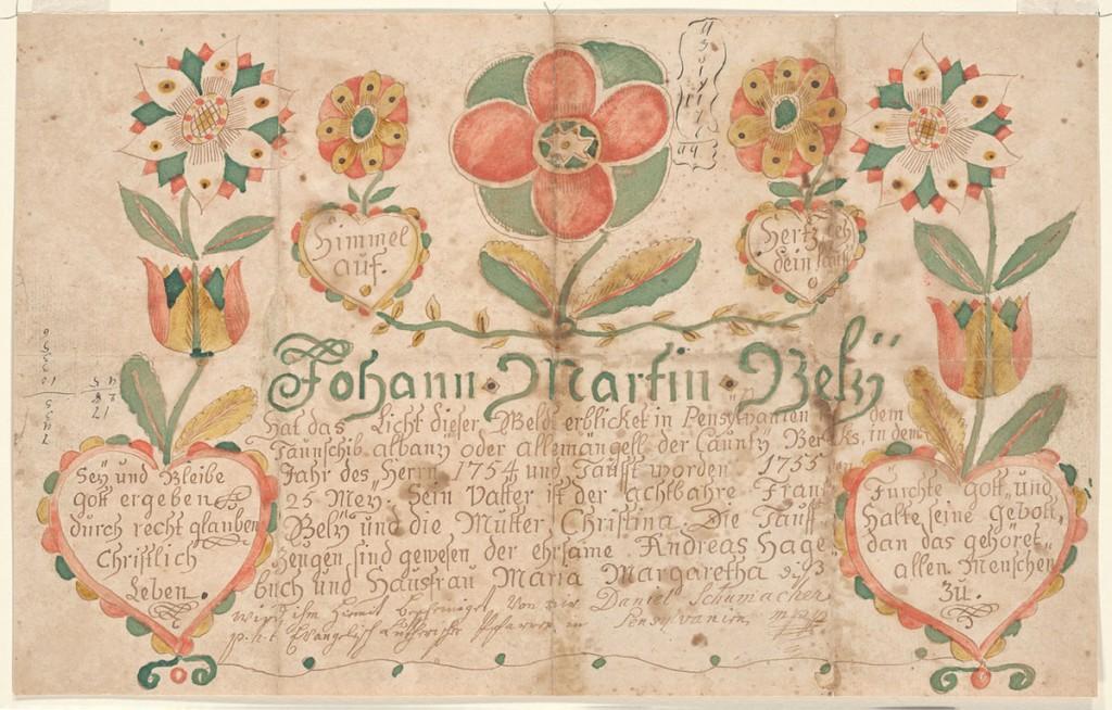 Johann Martin Bely (Bailey) Baptismal Fraktur