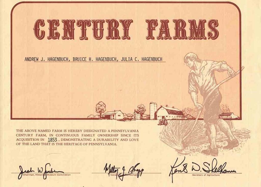 Century Farm Certificate
