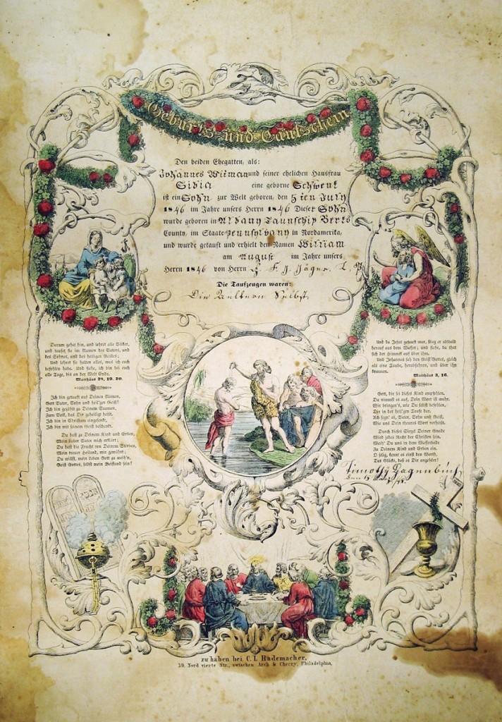 Timothy Hagenbuch Taufschein 1846