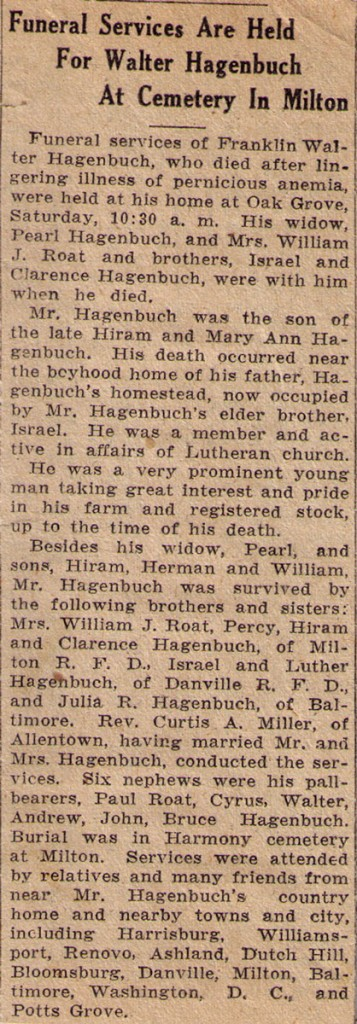 Franklin Walter Hagenbuch Obituary 1930
