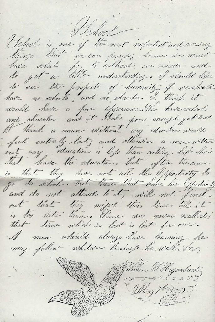 William S. Hagenbuch School Essay 1855
