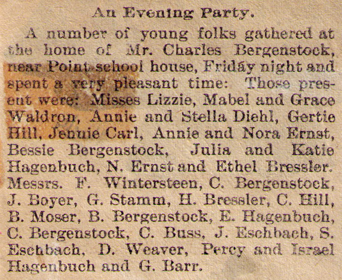 Evening Party Newspaper Article 1900