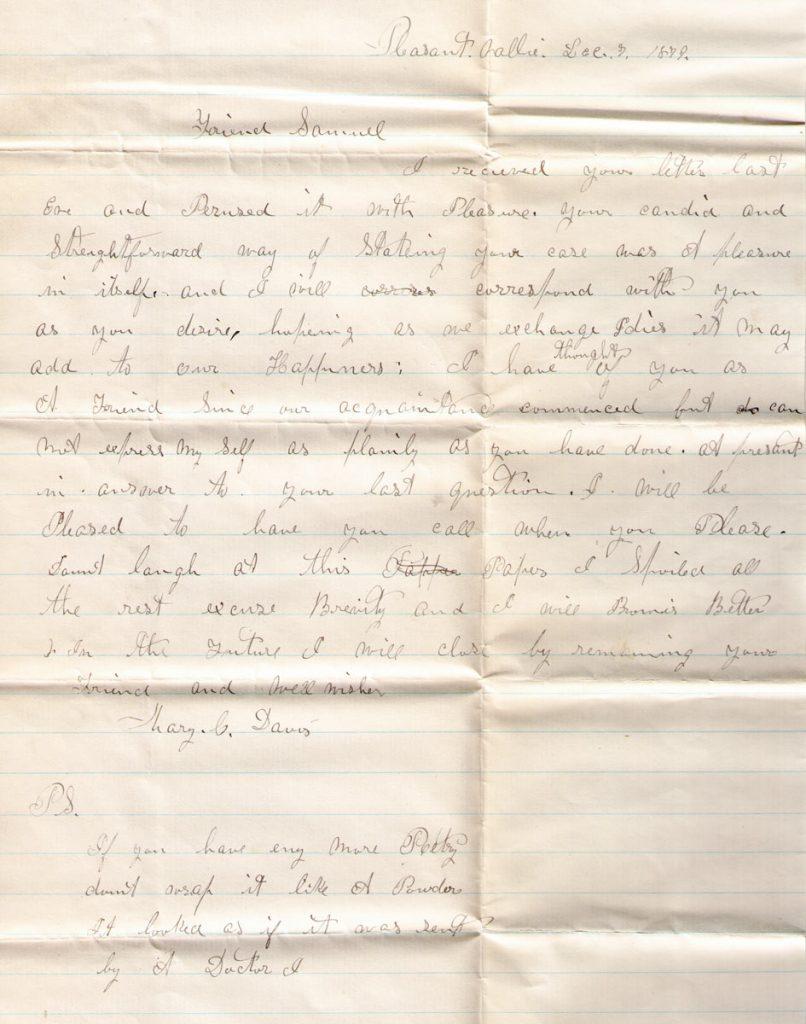 Mary Davis Letter Samuel Sechler December 7, 1879