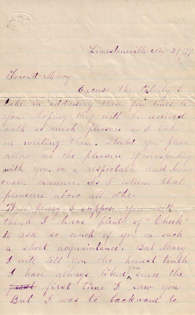Samuel Sechler Letter Mary Davis November 29, 1879