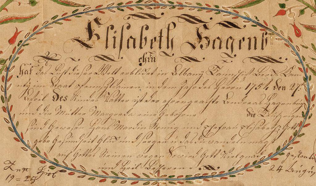 Anna Elizabeth Hagenbuch Fraktur Taufschein Text