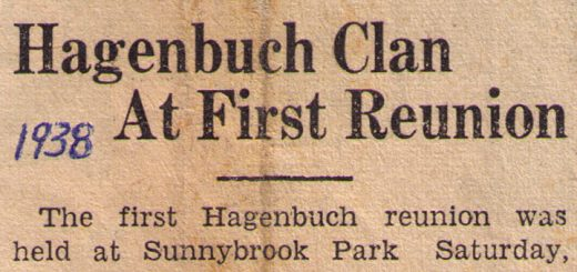 Hagenbuch Reunion Newspaper Clipping 1938