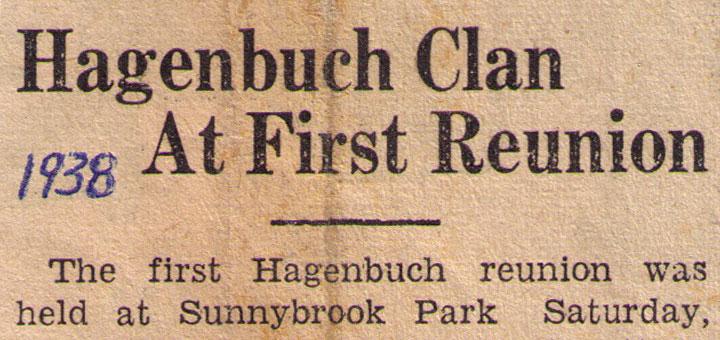 Hagenbuch Reunion Newspaper Clipping 1938