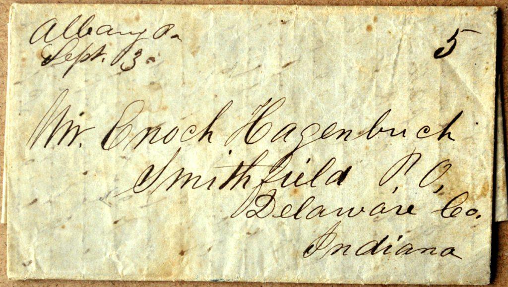 Timothy & Enoch Hagenbuch Letter 1851 Front