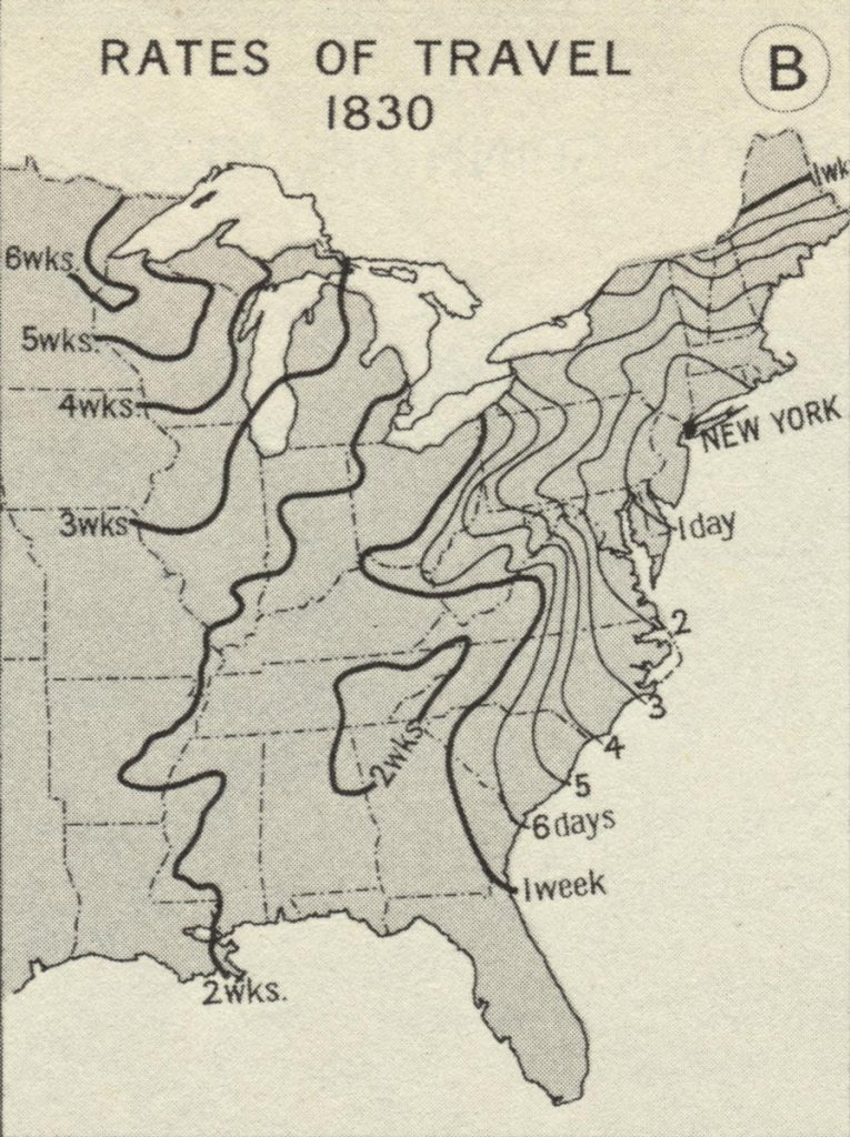 Rates of Travel 1830, Atlas of Historical Geography of the United States