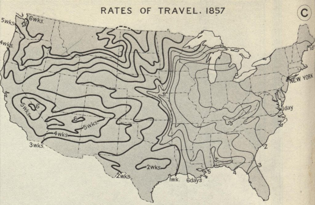 Rates of Travel 1857, Atlas of Historical Geography of the United States