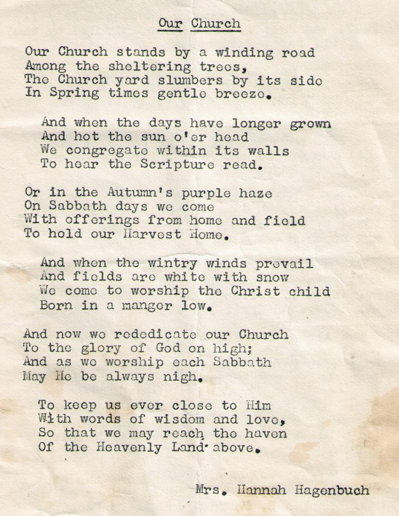 Oak Grove Lutheran Church Rededication Poem