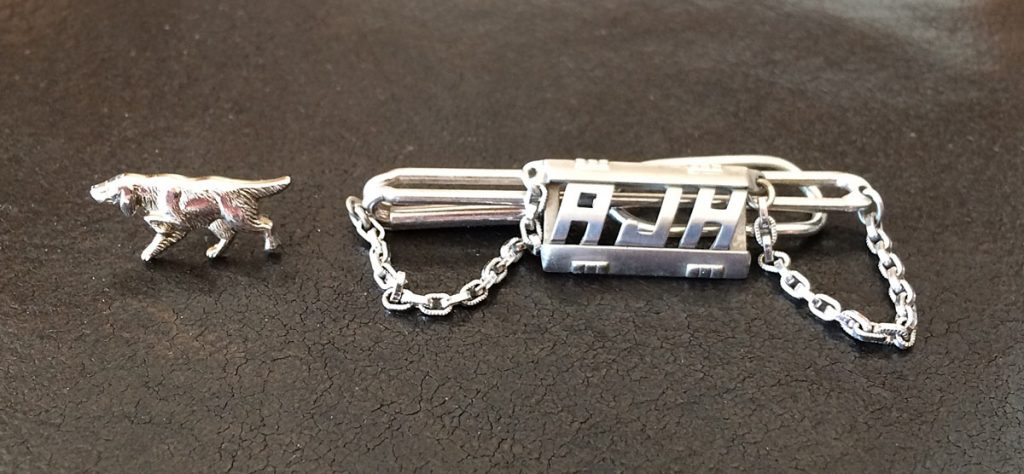 Dog Tie Tack, Initials Tie Chain