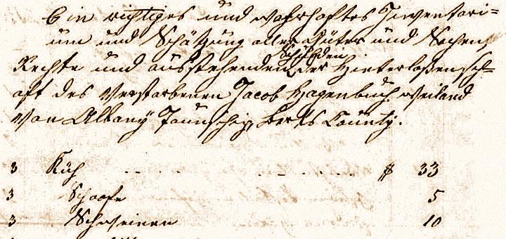 Jacob Hagenbuch Inventory 1842