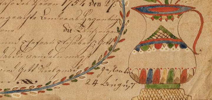 Anna Elizabeth Hagenbuch Taufschein Vase