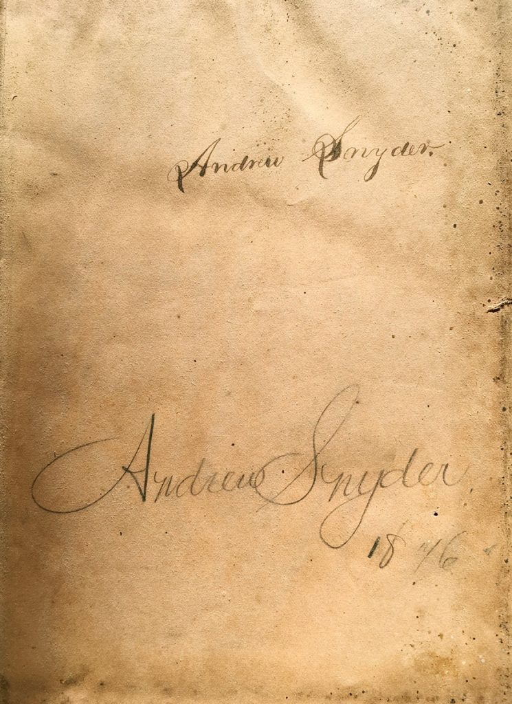 Andrew Snyder Bible Name 1876