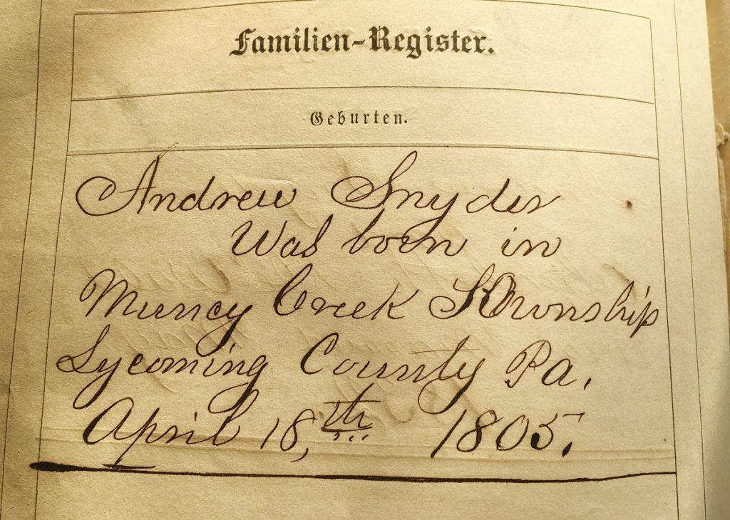 Andrew Snyder Bible Family Register