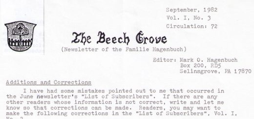 The Beech Grove, September 1982 Title