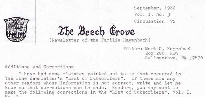 The Beech Grove, September 1982 Title