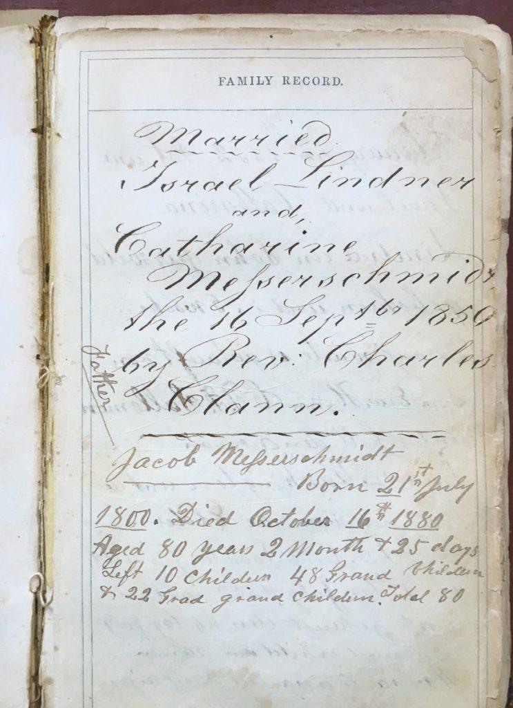 Israel Lindner Bible Register 1850