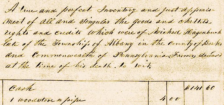 Michael Hagenbuch 1855 Inventory Detail