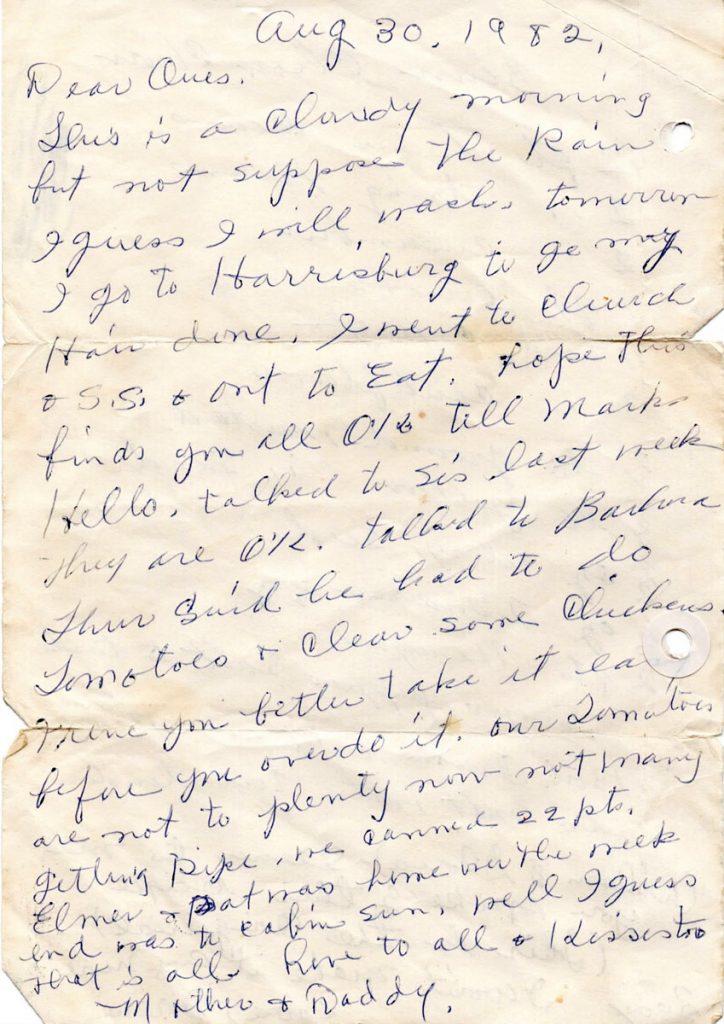 Grandma Faus Letter 1982