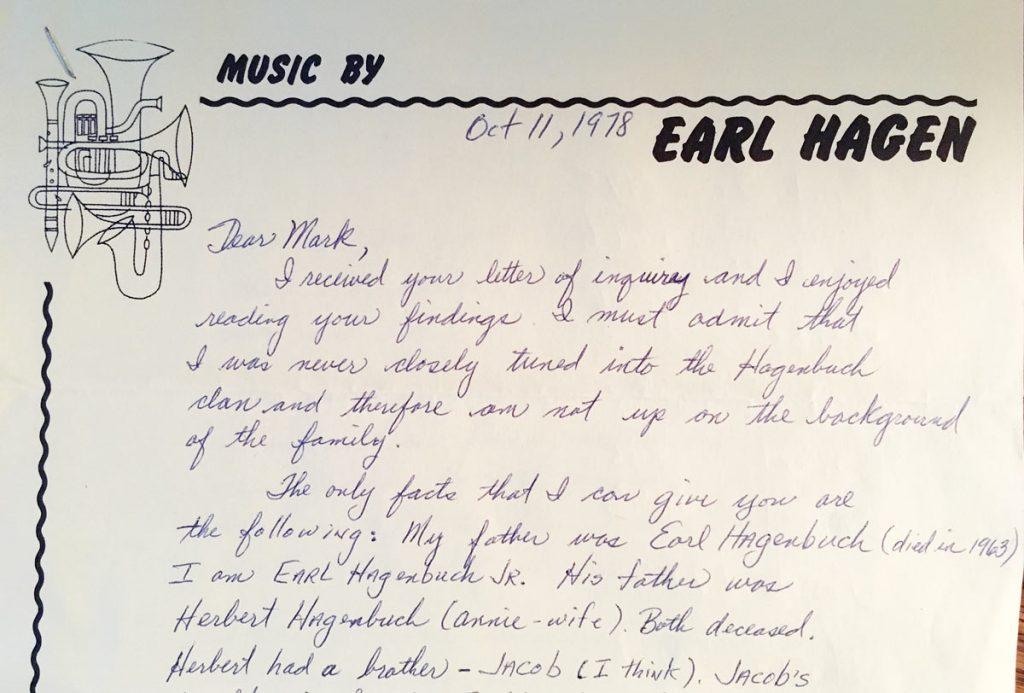 Earl Hagenbuch, Jr. Letter