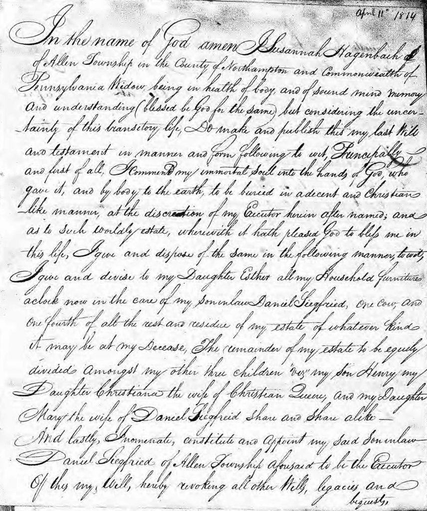 Will of Susanna Hagenbuch
