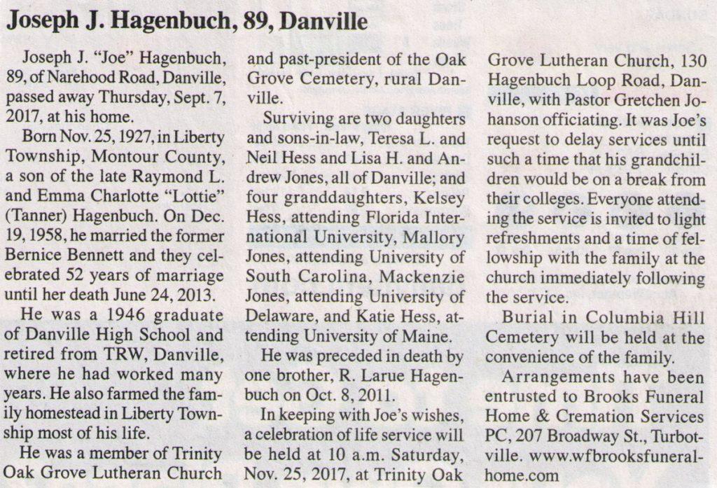 Joseph Hagenbuch Obituary
