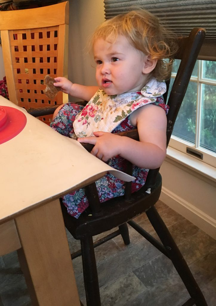 Brandt highchair with Hadley Emig eating scrapple