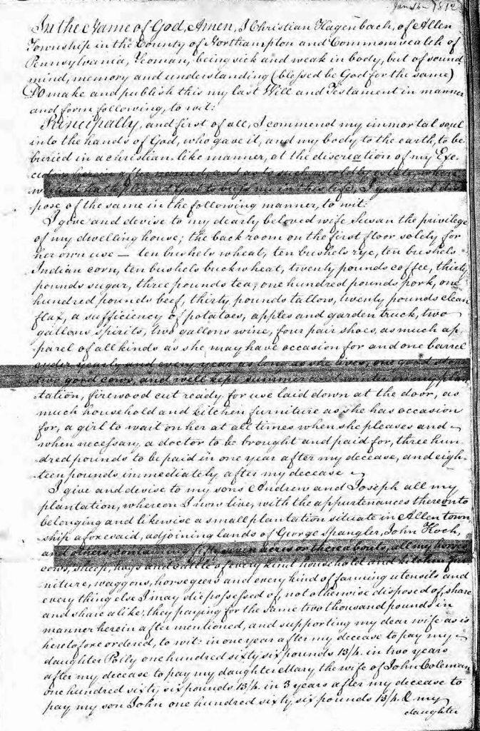Christian Hagenbuch Will 1812