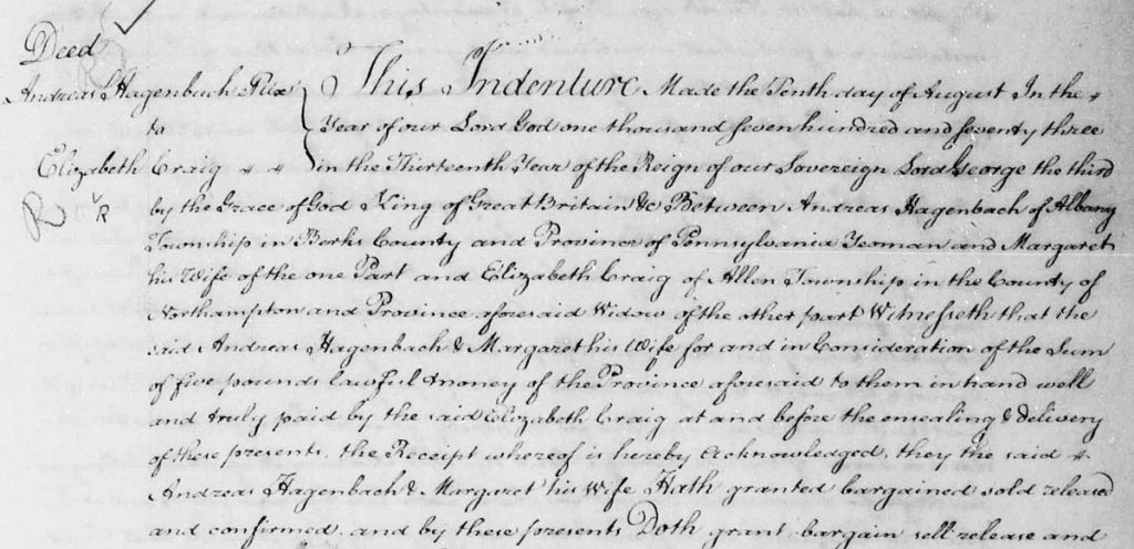 Andreas Hagenbuch, Elizabeth Craig, 1773