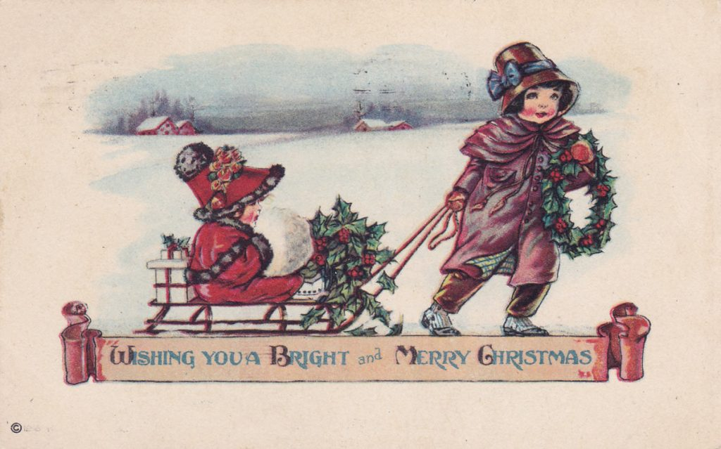 Children Sled Christmas Card