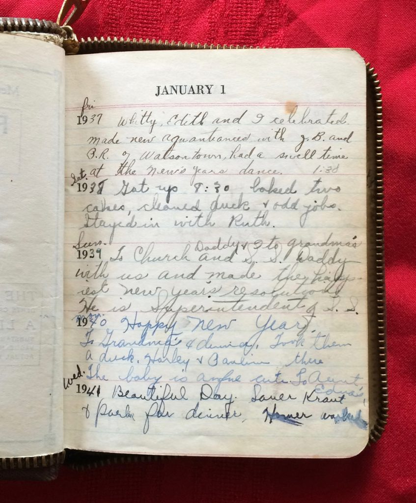 Irene (Faus) Hagenbuch diary January 1st