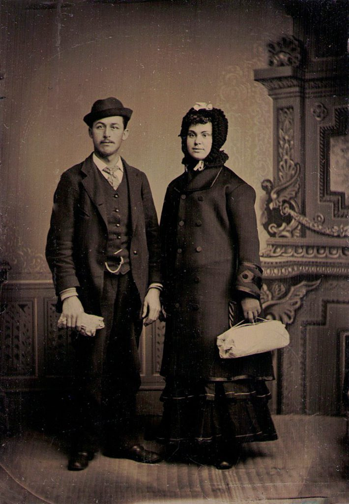 Tintype of a couple traveling