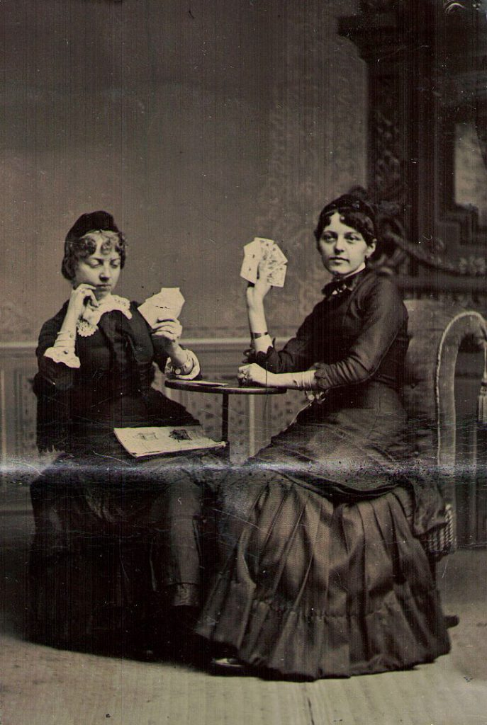 Tintype Women Playing Cards