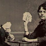 Tintype of Women Playing Cards Detail