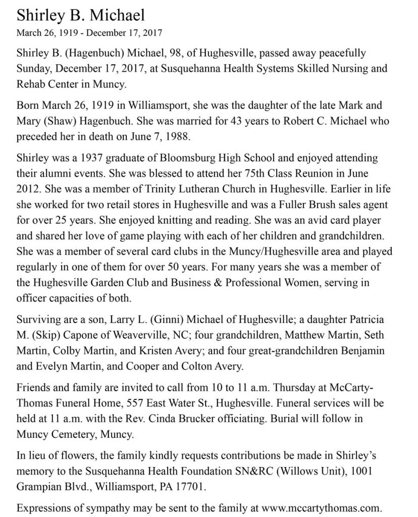 Shirley (Hagenbuch) Michael Obituary