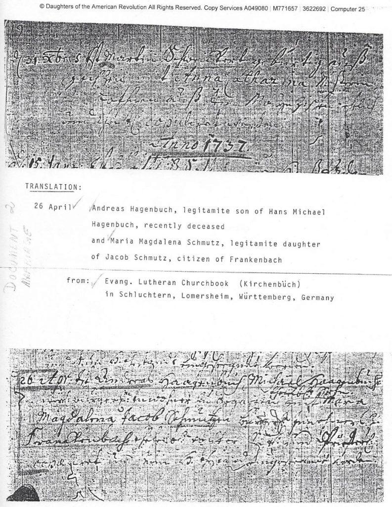 Andreas Hagenbuch Marriage 1737