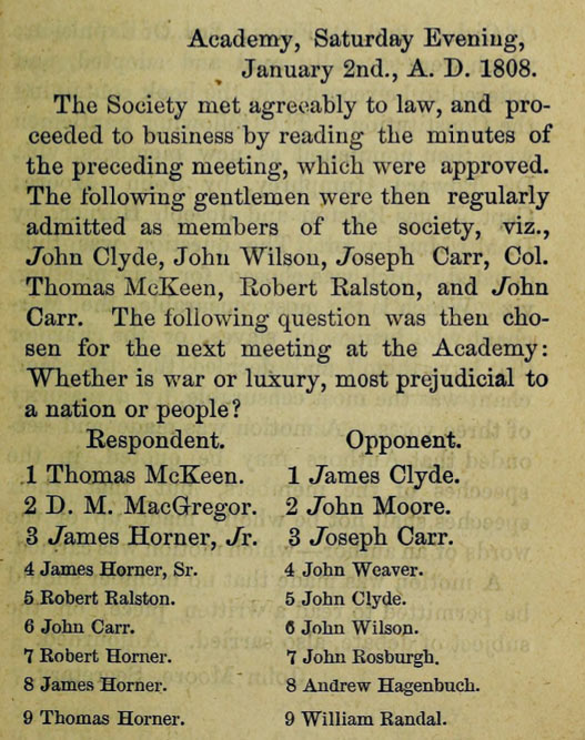 Franklin Society Meeting Minutes