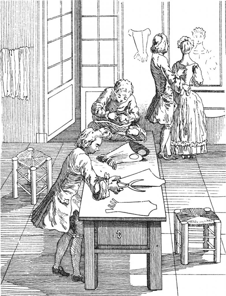 Tailors cutting out and fitting in the 18th century