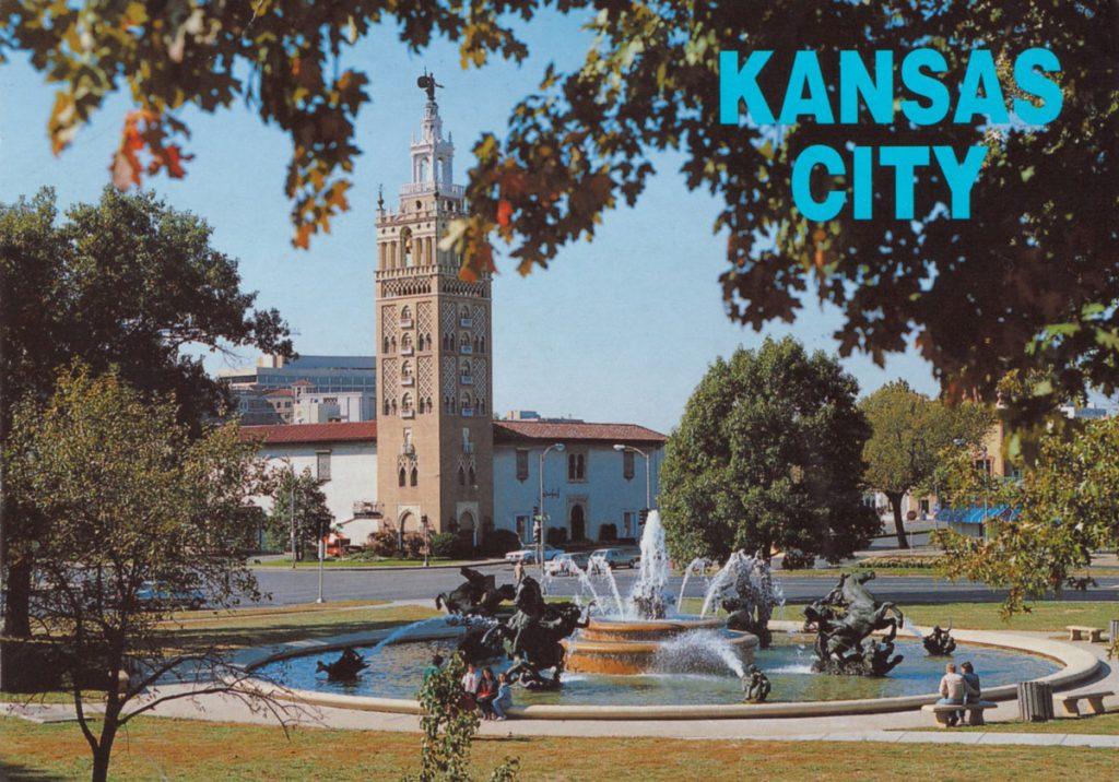 Nichols Fountain, Kansas City Postcard