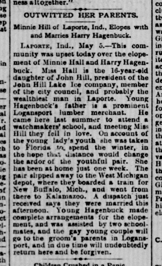 Minnie Hill, Harry Hagenbuck Article