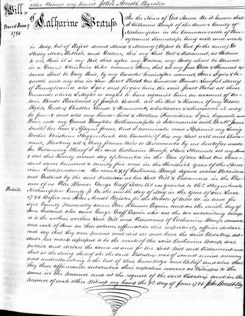 Catharina (Hagenbuch) Brouss Will