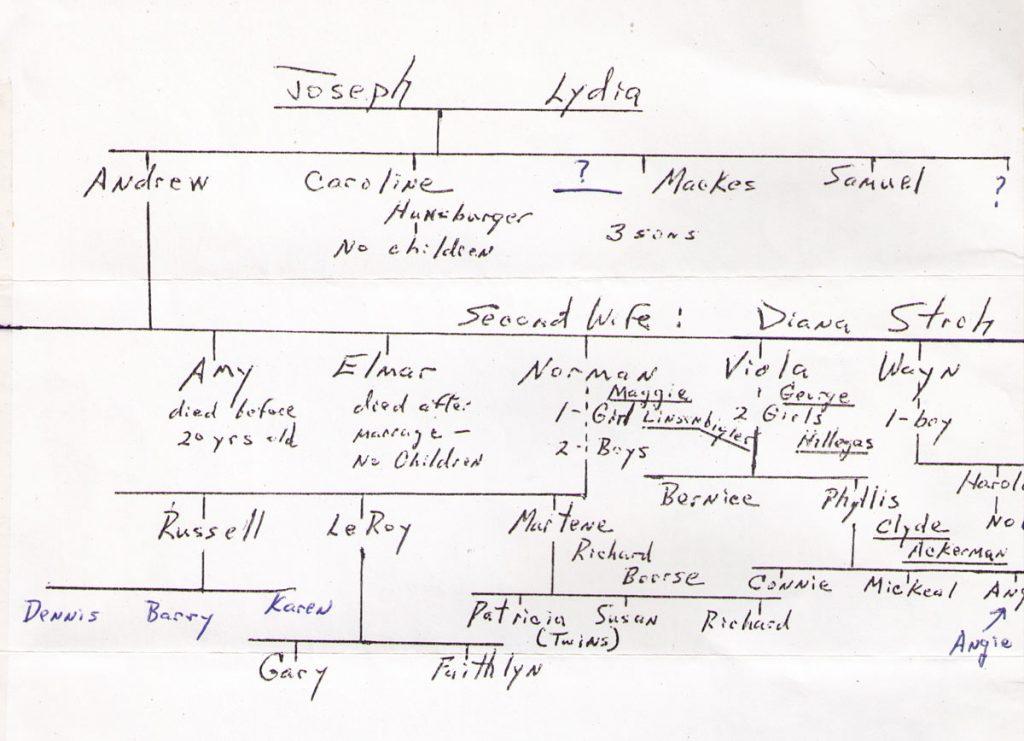 Joseph Hagenbuch, Lydia Hahn family tree