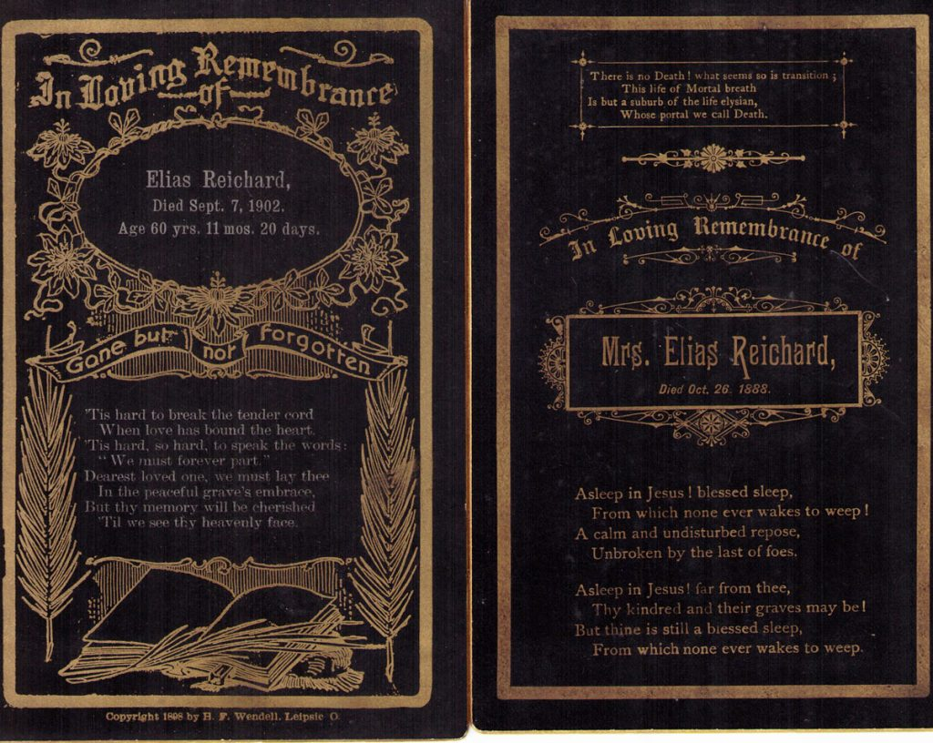 Elias and Jane Hagenbuch Funeral Cards
