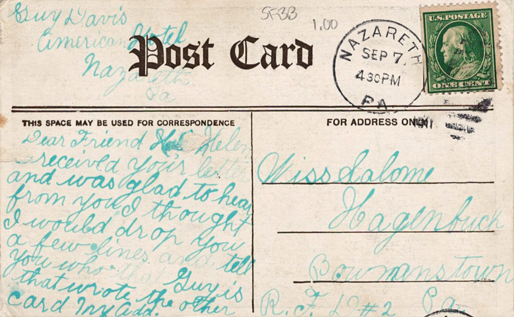 Salome Hagenbuch Rehrig Postcard Back 1911